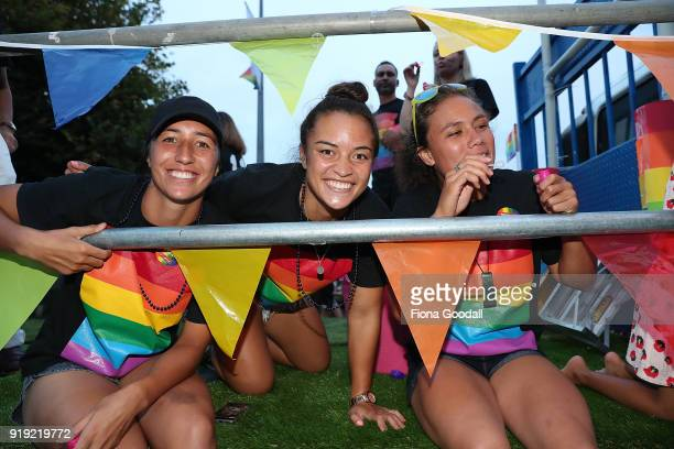 Black Ferns Theresa Fitzpatrick Sarah Goss on the NZR Community Rugby float on February 17 2018 in Auckland New Zealand The Auckland Pride Parade is...