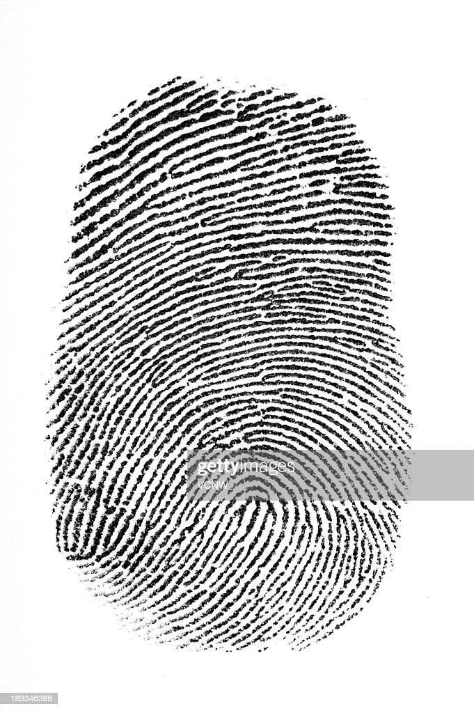 Black fingerprint with a white background : Stock Photo
