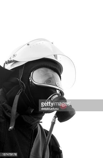 black fire fighter with mask isolated on white - air respirator mask stock pictures, royalty-free photos & images
