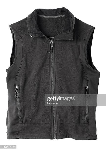 black fleece hiking vest. - waistcoat stock photos and pictures