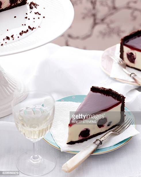 Black forest cake on traditional tea table