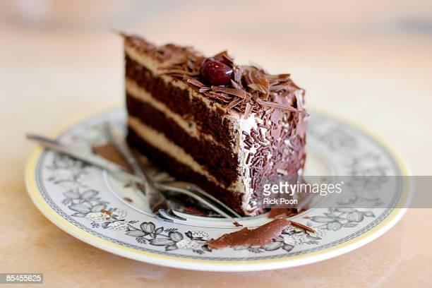Black forest cake, slice on plate