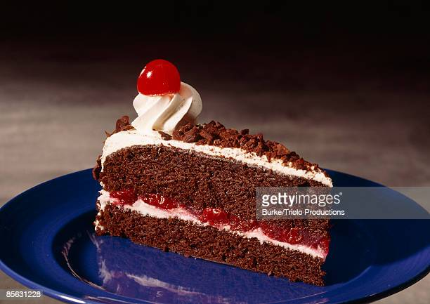 Black forest cake with cherry on top