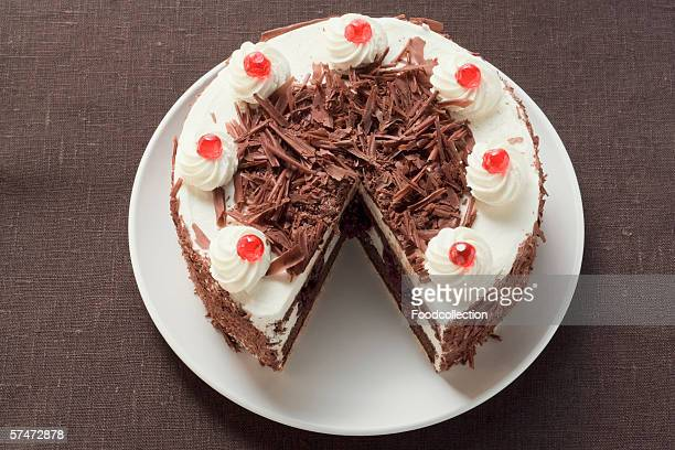 black forest gateau, a piece taken - chocolate cake above stock pictures, royalty-free photos & images