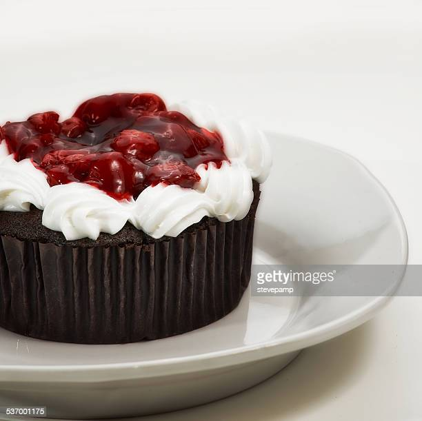 Black Forest gateau with whipped cream and cherries on white plate
