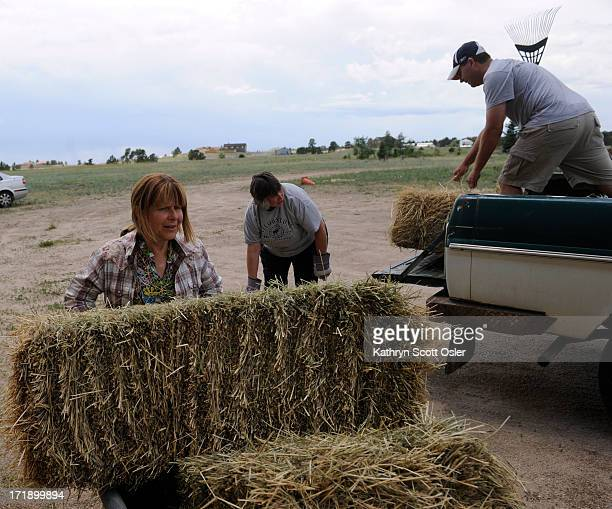 Black Forest resident Jason Kerekes, right, brings a truck full of hay bales to donate and Colorado Horsecare Foodbank co-founder Juliana Lehman,...