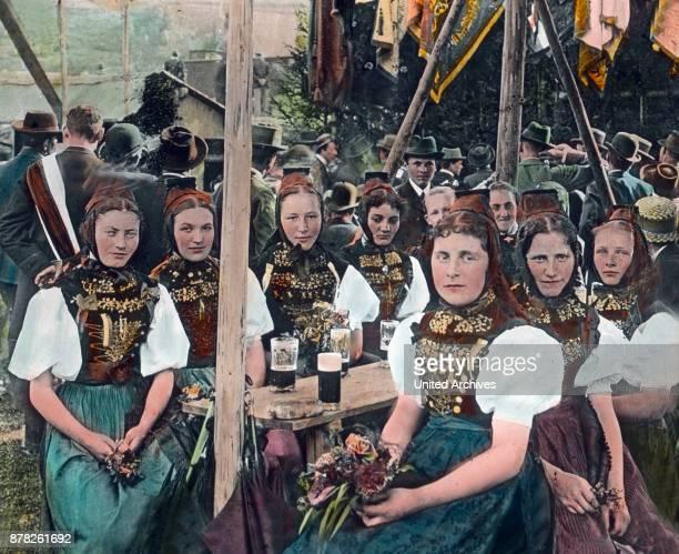 Black Forest women in folk costumes
