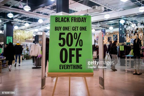 Black Friday sale sign at Urban Outfitters in the Mall of America on November 24 2017 in Bloomington United States