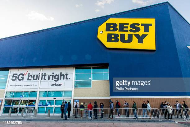 Black Friday shoppers wait for the opening of a Best Buy store on November 29 2019 in Emeryville United States Black Friday is traditionally the...