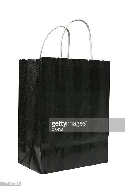bolsa de presente preta, isolado no fundo branco - bolsa preta - fotografias e filmes do acervo