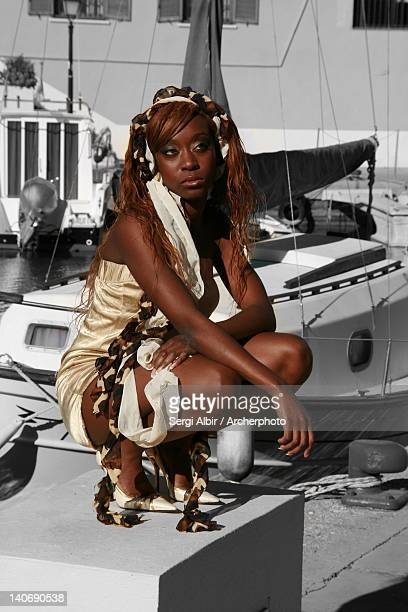 Black girl in golden dress