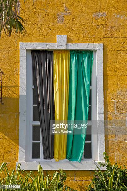 Black, gold and green sheets symbolizing Jamaica.