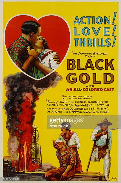 Black Gold Movie Poster Depicting a Burning Oil Derrick