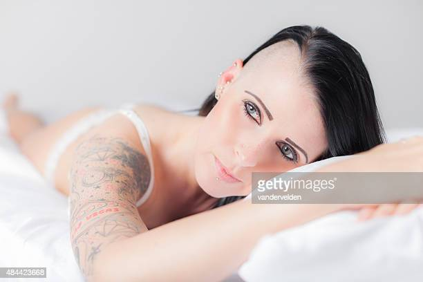 Black Haired Girl In Bed
