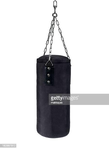 Black hanging punching bag for boxing training