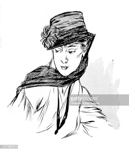 Black hat with a silk Chrysanthemum and mourning veil, 1915. A print from 'Le Flambeau' , 18th September 1915. The artist is unknown.