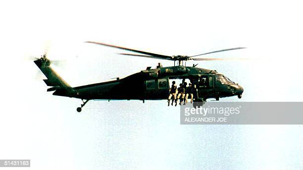 S Black Hawk helicopter with US troops in Mogadishu Somalia 02 September 1993