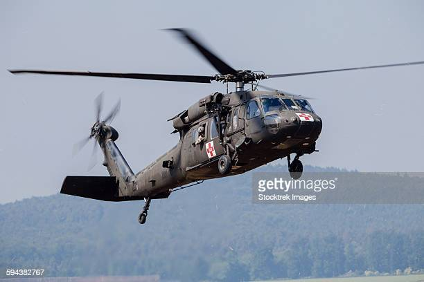 UH-60A Black Hawk medevac helicopter of the U.S Army prepares to land at Fritzlar Air Base, Germany.