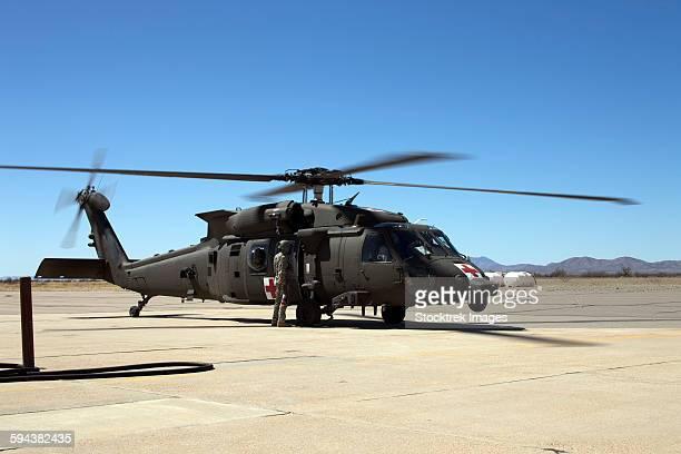 UH-60 Black Hawk refuels during exercise Angel Thunder 2013.