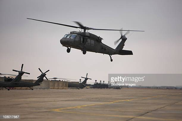 A UH-60 Black Hawk taking off for a mission over northern Iraq.