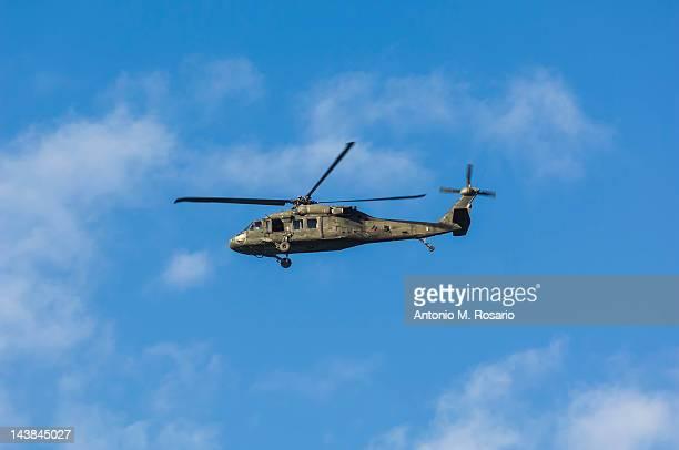 A Black Hawk utility helicopter in flight