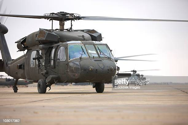 UH-60 Black Hawks taxi out for a mission over northern Iraq.