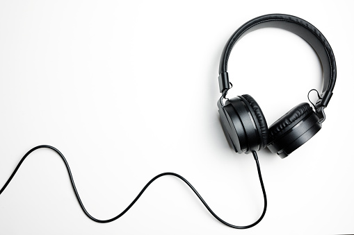 Black headphones isolated on the white background 1134520463