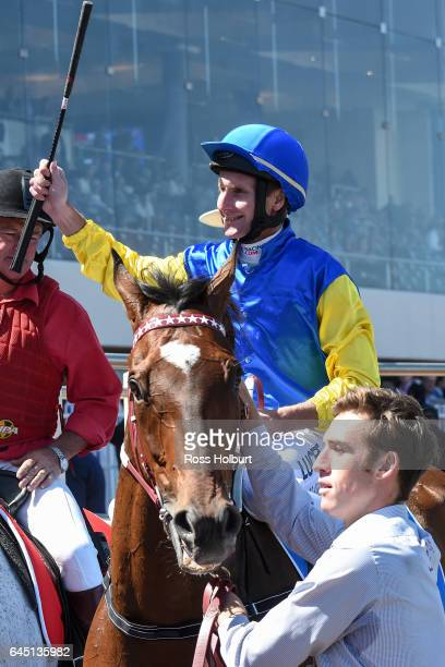 Black Heart Bart ridden by Brad Rawiller after winning the italktravel Futurity Stakes at Caulfield Racecourse on February 25 2017 in Caulfield...