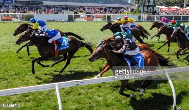 Black Heart Bart ridden by Brad Rawiller wins the italktravel Futurity Stakes at Caulfield Racecourse on February 25 2017 in Caulfield Australia