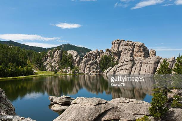 black hills paisagem com lago; south dakota - black hills - fotografias e filmes do acervo