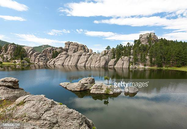 black hills landscape with a lake; south dakota - black hills stock photos and pictures