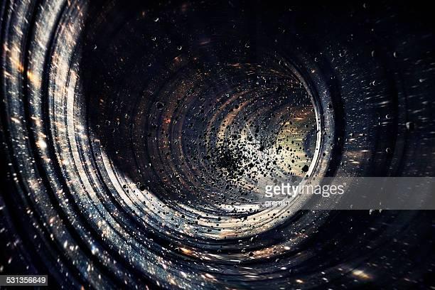 schwarzes loch-konzept mit tiefen universum galaxy, planeten, sternen - strudel geometrische form stock-fotos und bilder