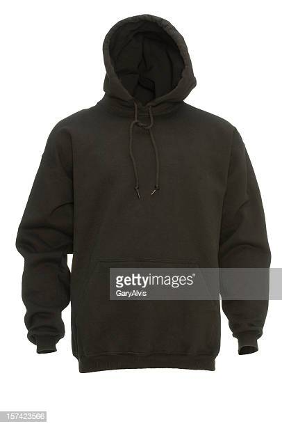 black hooded blank sweatshirt front-isolated on white w/clipping path - sweatshirt stock pictures, royalty-free photos & images