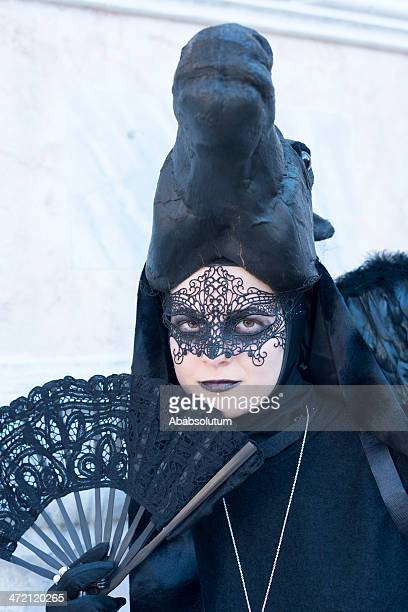 black horse mask in san zacharias square, venice 2013 - black mask disguise stock pictures, royalty-free photos & images