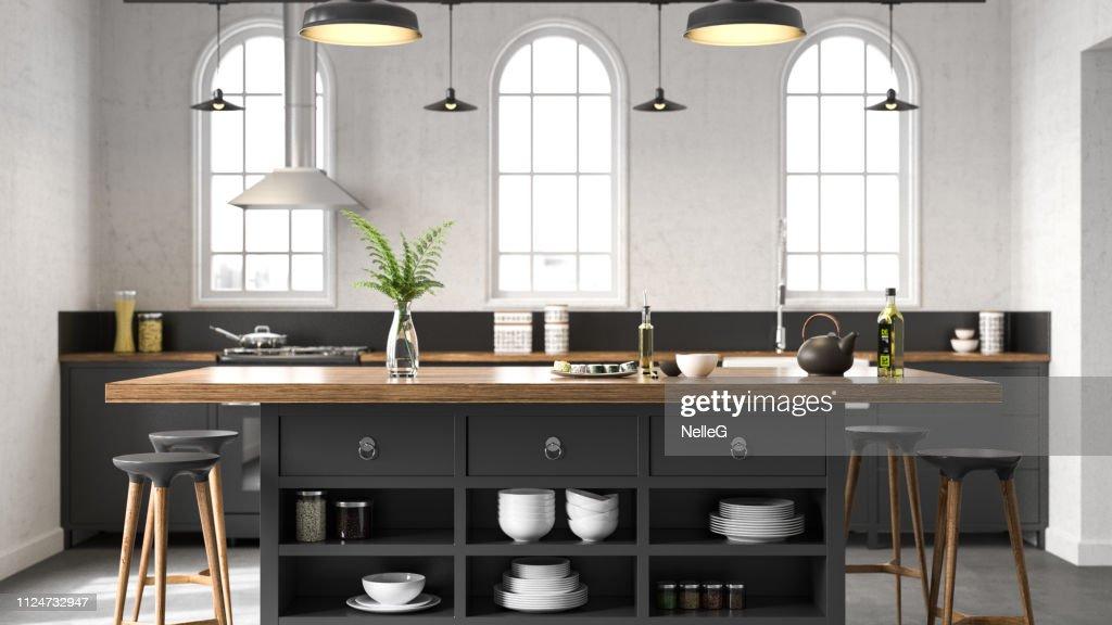 Zwarte industriële keuken : Stockfoto