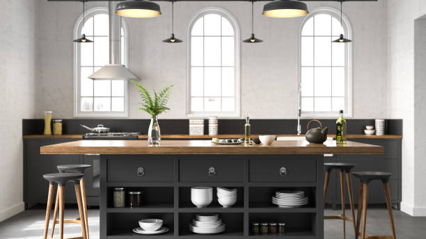 black industrial kitchen - kitchen stock pictures, royalty-free photos & images