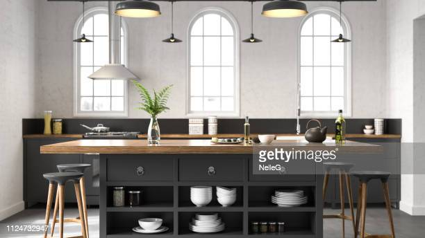 black industrial kitchen - indoors stock pictures, royalty-free photos & images