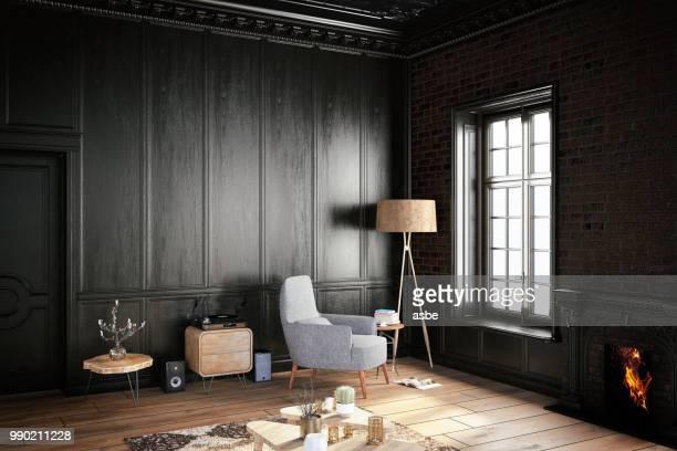アームチェア ブラック内装 - 古典様式 ストックフォトと画像