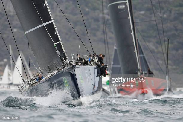 Black Jack leads Comanche out of Sydney Harbour during the 2017 Sydney to Hobart on December 26 2017 in Sydney Australia