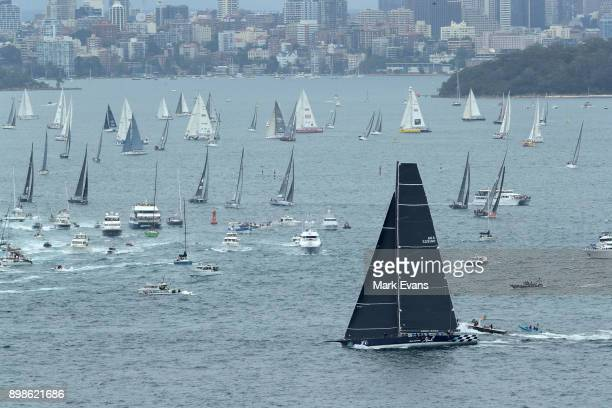 Black Jack leads the fleet out of the heads after the start of the Sydney to Hobart Yacht Race on Sydney Harbour during the 2017 Sydney to Hobart on...