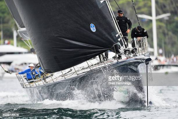 Black Jack prepares to sail out of Sydney Harbour during the 2017 Sydney to Hobart on December 26 2017 in Sydney Australia