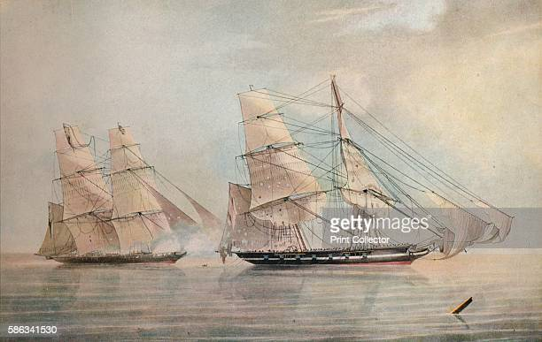 'Black Joke engaging the Spanish Slave Brig El Almirante in the Bight of Benin 1 February 1829' 1830 Commanded by Lieutenant Henry Downes the 'Black...