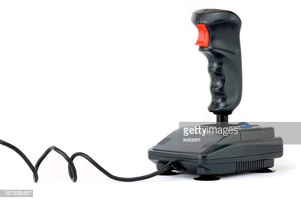 Black joystick on white background