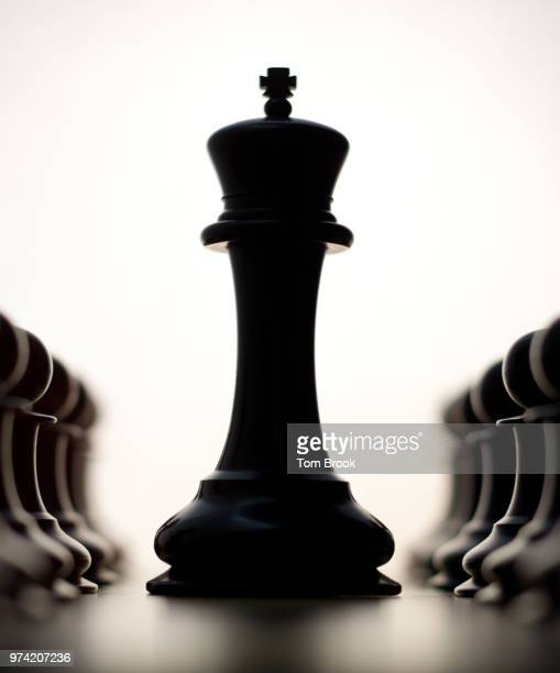 black king chess piece between pawns - chess piece stock pictures, royalty-free photos & images