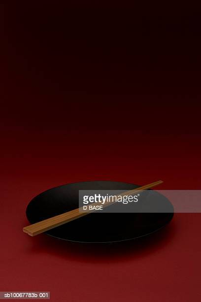 Black lacquered bowl with chopstick