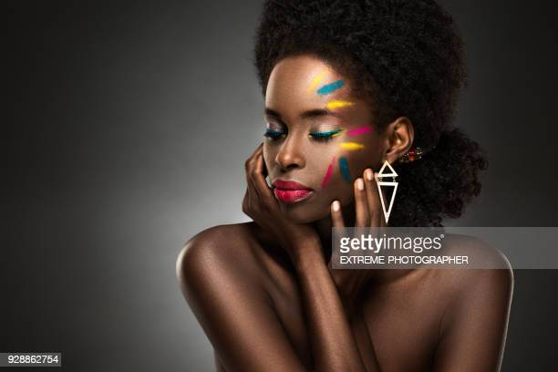 black lady with makeup - stage make up stock photos and pictures