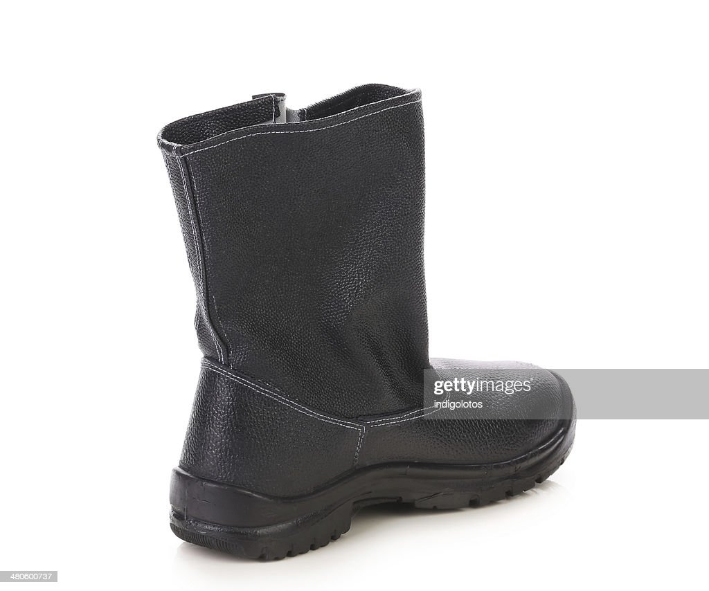 Black leather boot. : Stock Photo