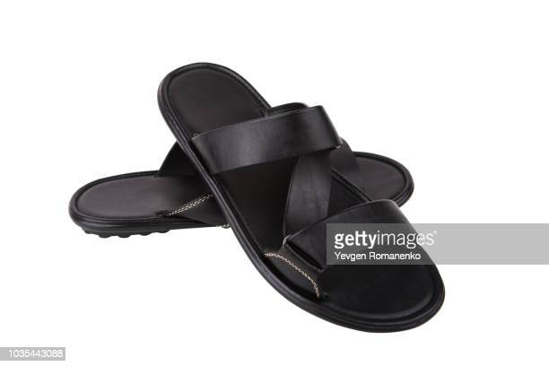 black leather mens sandals shoes isolated on white background - サンダル ストックフォトと画像