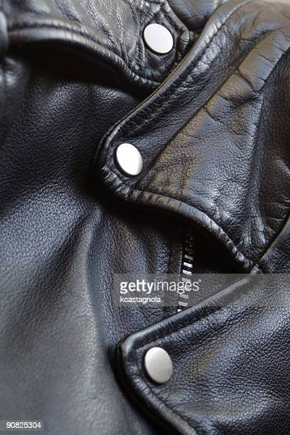 black leather motorcycle jacket - biker jacket stock photos and pictures