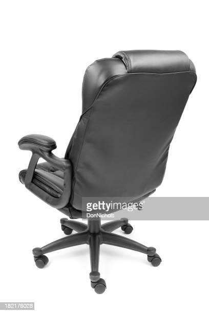 Schwarzes Leder-Schreibtischstuhl